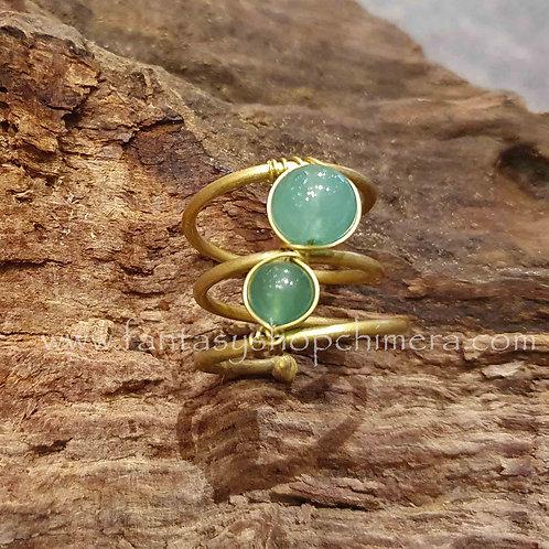 brass ring copper groen agaat crystal agate koper messing unieke sieraden jewellery special amsterdam