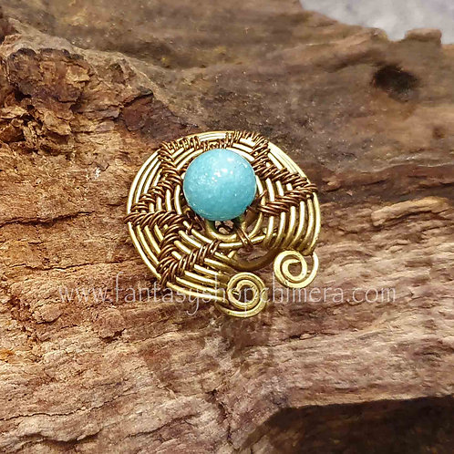 quartz copper wire brass bohemian ring turquoise disk