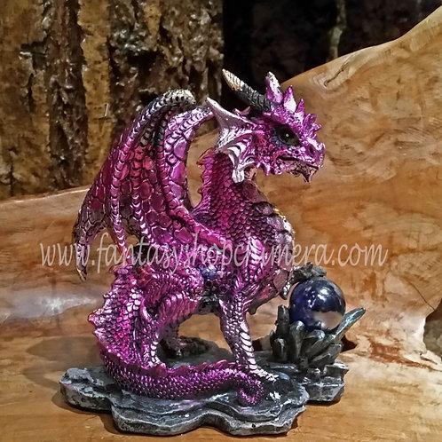 purple fortune dragon crystal ball draak met kristallen bol beeldje figurine