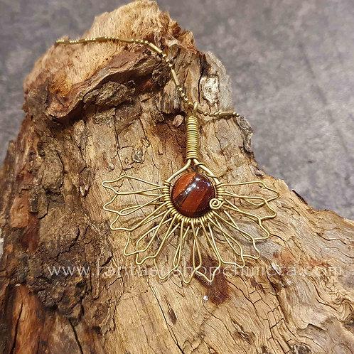flower fan copper brass wire carnelian kornalijn agaat agate necklace ketting koper messing sieraad boho style