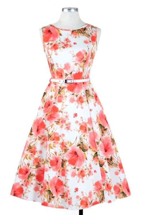 poppy swing dress vintage lady 50's style stijl hepburn zomerjurk