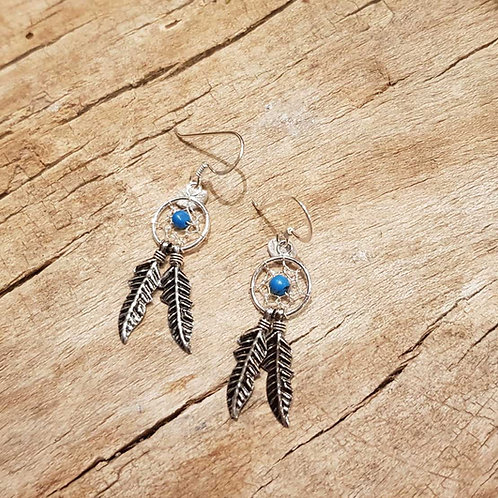 Dreamcatchers earrings with turquoise