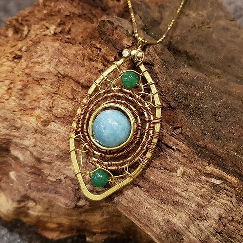 copper brass jewelry necklace chalcedony chalcedoon hanger bohemian style