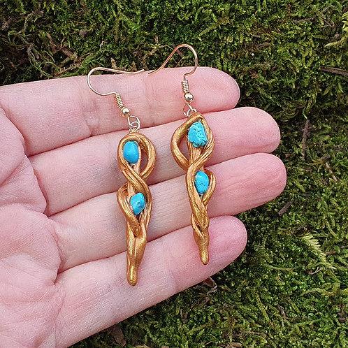 forest root earring turquoise turkoois steen oorbellen
