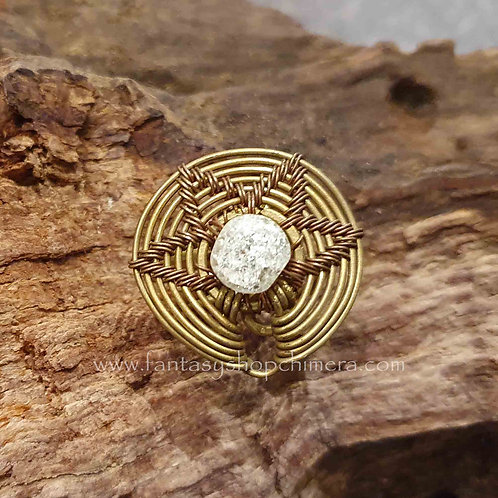 crackled crystal brass disc ring disk ring verstelbaar koper messing brass boho bohemian
