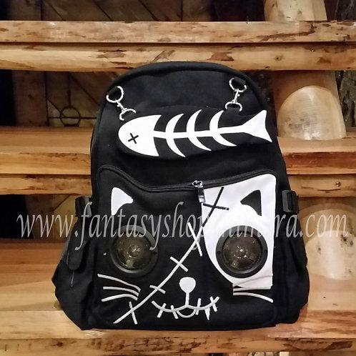 rucksack backpack speakers cat kitten canvas fantasy black
