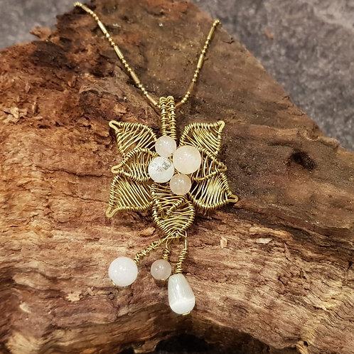flower shape pendant necklace gemstones rose quartz rozenkwarts liefde ketting collier bloem