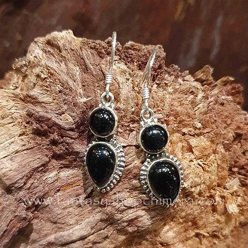onyx earrings silver oorbellen zilver met zwarte steen