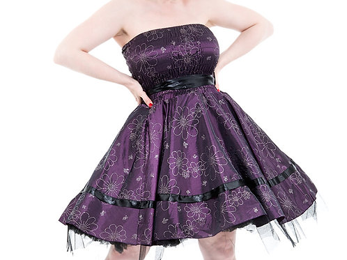 Purple Satin Strapless Dress