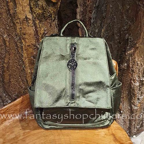velvet pentagram backpack ruckzak rugtas fluweel groen khaki banned dancing days tassenwinkel amsterdam