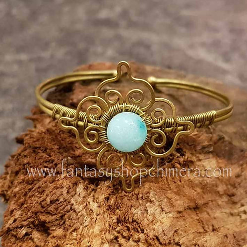 agate flower brass bracelet handmade gemstones healing stones sieraden armband agaat koper