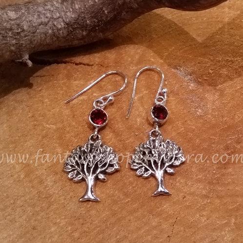 Tree of Life earrings garnet
