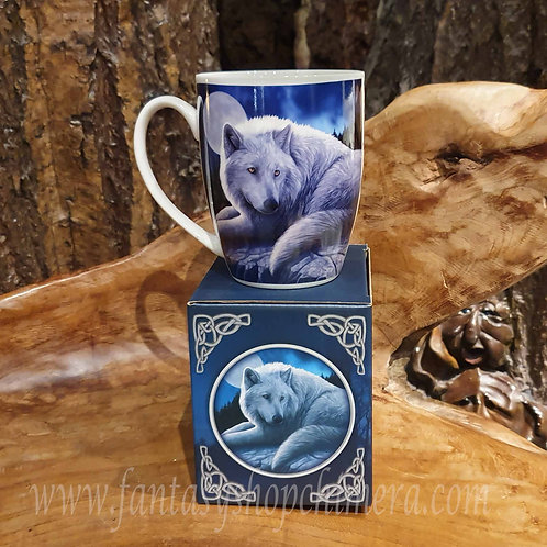 Guardian of the north mug wolf coffee tea lisa parker witte wolf theebeker koffiebeker wolven