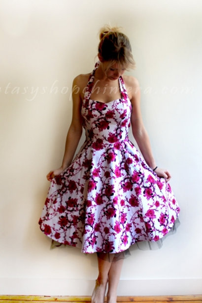 White Pink Floral dress