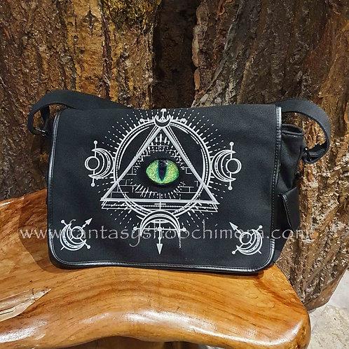 the eye messenger bag scoulder school tas met oog canvas schoudertas