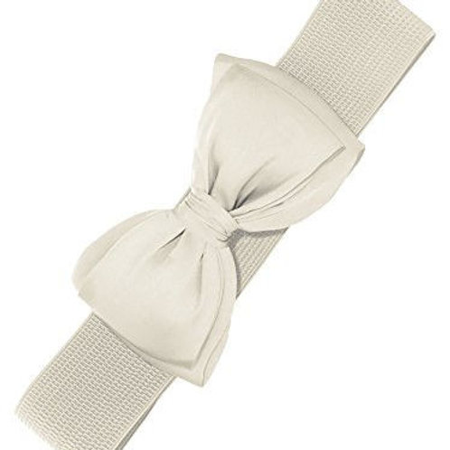 Cream bow BELLA BELT elastic elastieke riem met strik swing dress assessoires