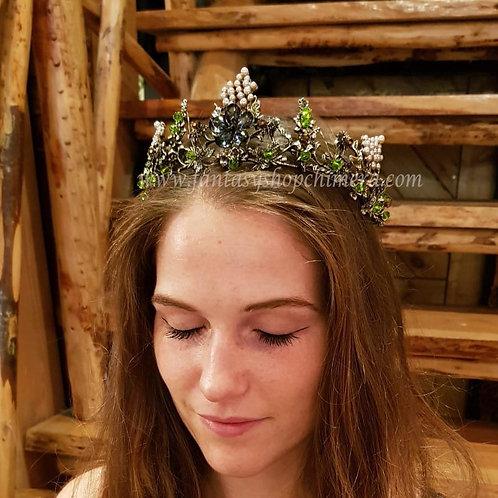 Forest flower tiara crown hair ornament flowers fairy fairies elfen kroon haarband haar sieraad sieraden prinses princes fant