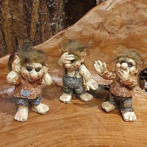 3 wise trolls hear no see no speak no horen zien zwijgen beeldjes trollen