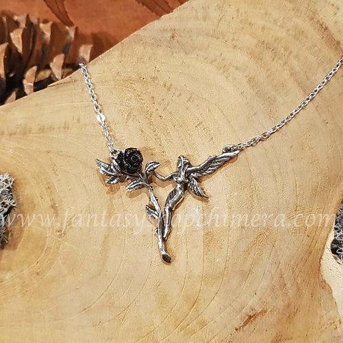 Faerie glade fairy necklace pewter black rose alchemy fantasy jewelry shop elfje zwarte roos collier hanger