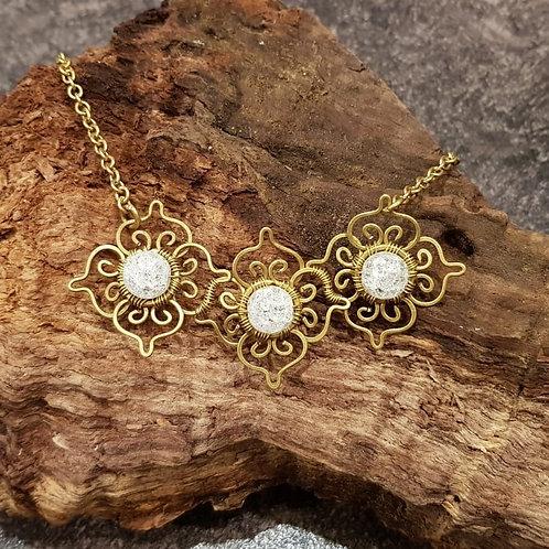 bohemian brass copper flower necklace hengeband head ornament sieraad ketting hoofd collier