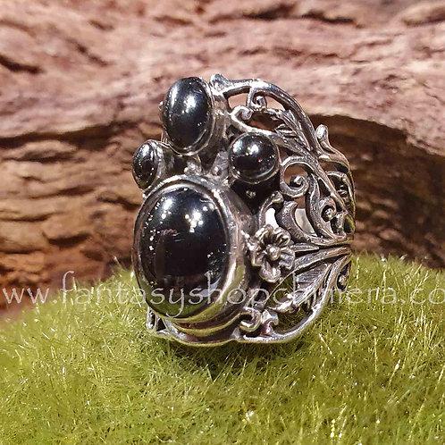 hematite silver fantasy ring adjustable in size verstelbare groote zilveren ring met hematiet