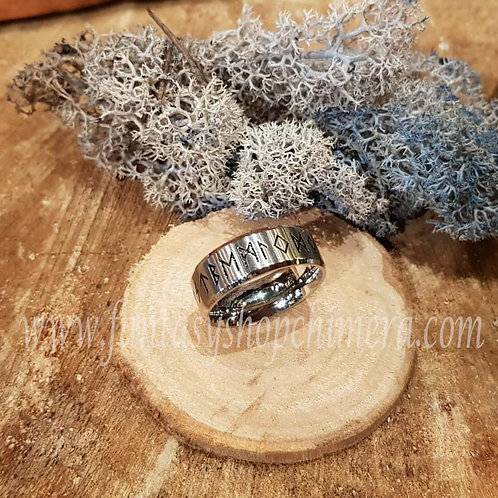 Rune ring viking druid GoT stainless steel jewellery jewelry sieraden elfen script fantasy stories magical magie