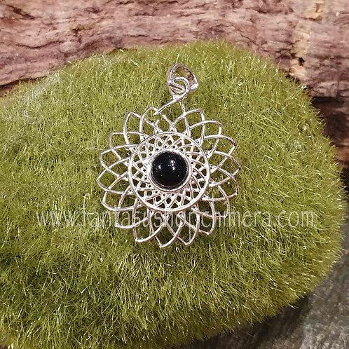 onyx silver pendant flower lotus hanger zilver onyx sieradenwinkel amsterdam
