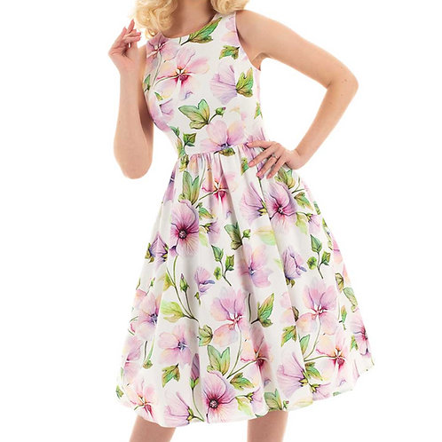 pink magnolia dress hibiscus gloria vintage 50's jaren 50 swing dress jurk bloemen dans
