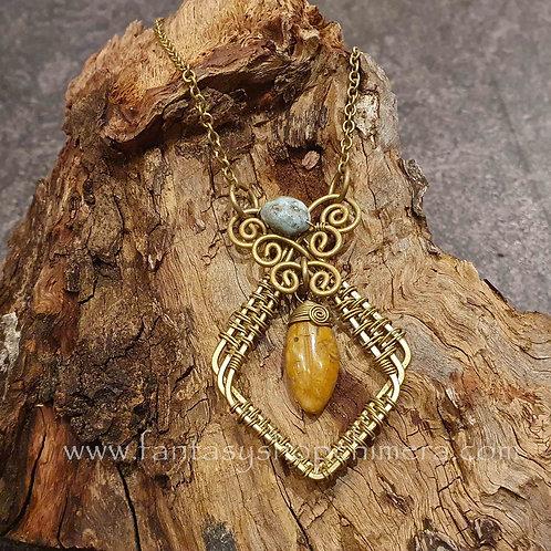 bohemian copper brass wire jasper necklace ketting koper messing sieraad boho style