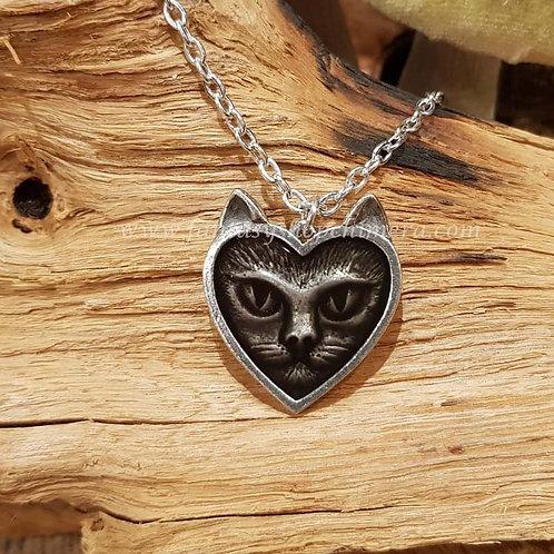 Love cat pendant cat face kitten alchemy pewter kattenkopje hanger ketting poes
