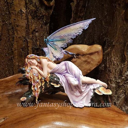 fairytale dreamer fairy sleeping on log tree figurine elf slapemd boomstam elfenwinkel