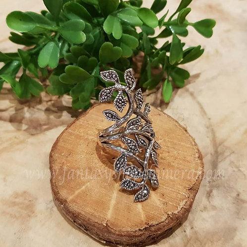 blaadjesring lang long large silver ring leaf leaves jewelry jewellery sieraden winkel amsterdam fantasy shop