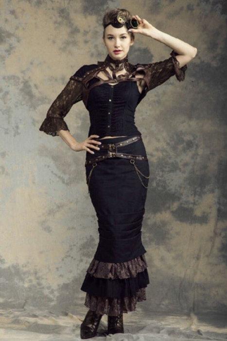 C-Lock Steampunk pencil skirt