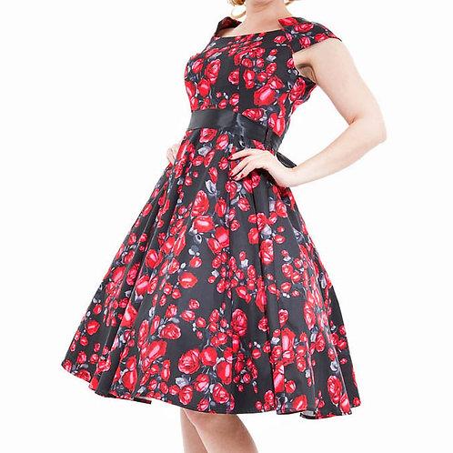 Dark rose swing dress hillbilly summer zomer jurk katoen dansjurk jive 50's style stijl