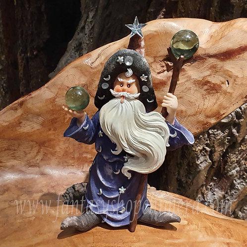 Benjamin wizard sorcerer tovenaar figurine beeldje statue merlijn merlin fairytale sprookjesfiguur