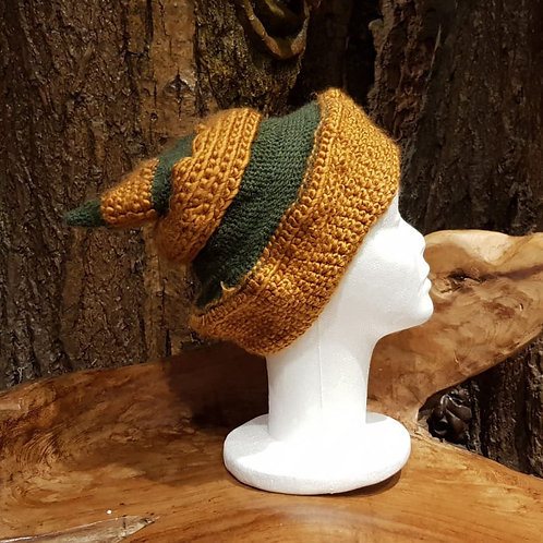 gold brown green pointy hat winter pixie gnome kabouter-muts lange puntige muts winter