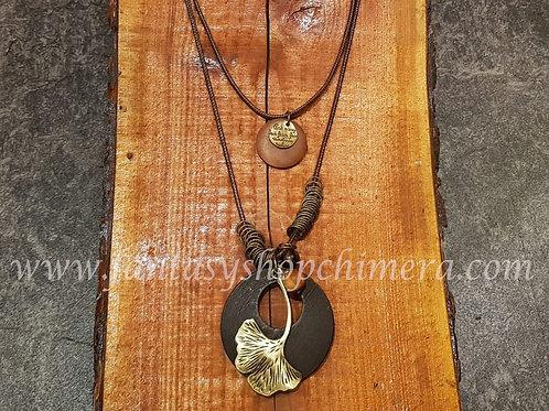 Ginko leaf blad wood necklace houten sieraden levensboom winkel amsterdam fantasy shop