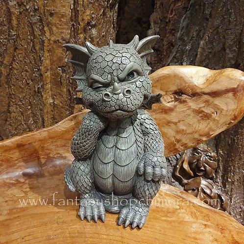 yeah right boris garden dragob ornament figurine drakenbeeldje grijs tuindraak tuindecoratie fantasyshop amsterdam
