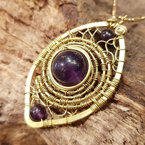 amethyst amethist collier ketting necklace sieraden koper handgemaakt
