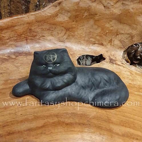 black cat pentagram ceramic keramiek zwarte poes kat kitten