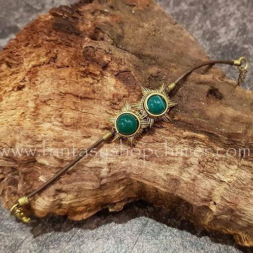 double sun green agate bracelet brass zonnen armband agaat koper messing sieraden winkel amsterdam