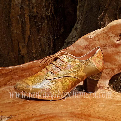 Leather shoes lady forest vintage fantasy larp leren dames schoenen bloemmotief