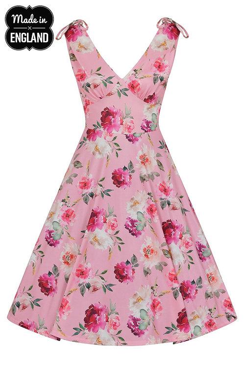pink rose flower print summer dress alternatieve kleding zomer jurk hellbunny