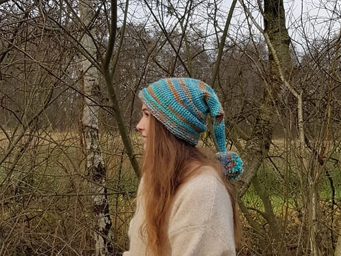 Turquoise Brown Pompon Long  Pointy Pixie Hat