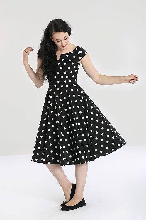 audrey polka dot 50's style dress jaren vijftig stijl jurk full circle cirkelrok