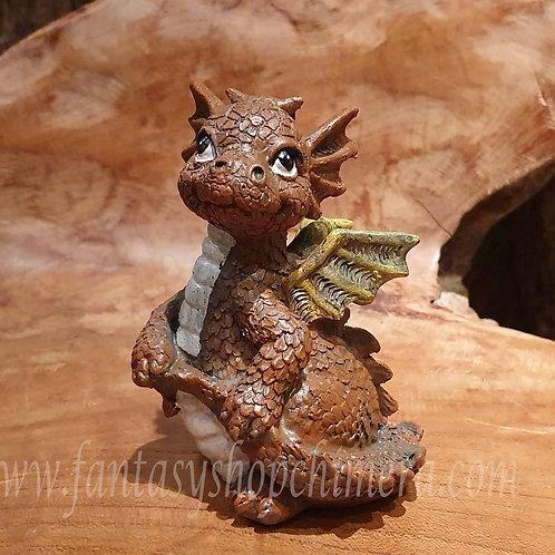 Baby dragon brown bruin dragonling figurine draakje draken drakenbeeldje kopen fantasy shop chimera