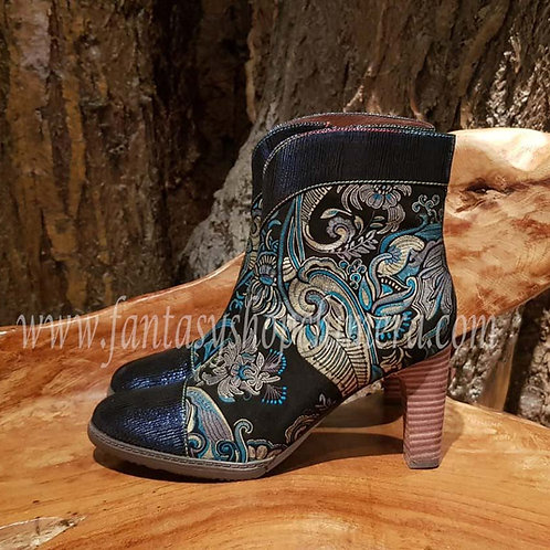 royal fantasy blue anckle booties enkellaarsjes brocade schoenen alternative wear alternatieve kleding amsterdam