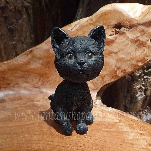 Wilson bobble head black cat kitten zwarte kat beeldje schuddekop wiebelhoofd