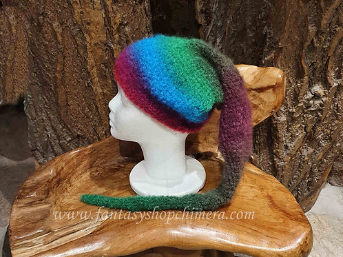 long pointy hat winter pixie dwarf gnome kabouter-muts lange puntige muts winter hippie boho rainbow
