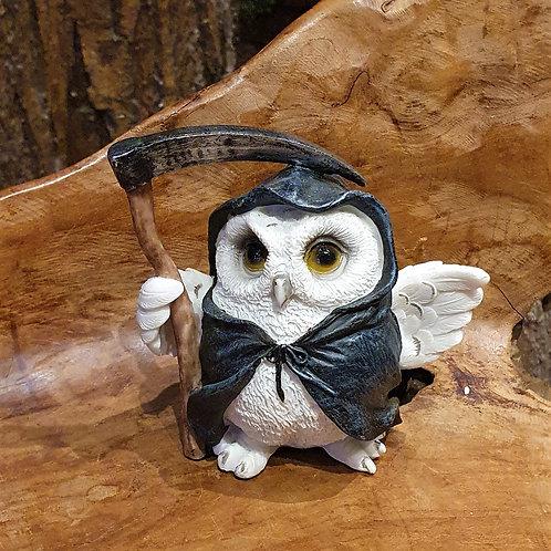 snowy grim reaper owls figurine tovenaar uil beeldje uiltje magere hein zeis figuurtje
